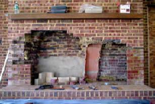 rebuild fireplace. demolition photo of firebox Nicholas Chimney Sweeping  Stove Fireplace Services Vienna Virginia